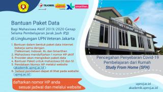 Bantuan Paket Data Bagi Mahasiswa Selama Pembelajaran Jarak Jauh (PJJ) di Lingkungan UPN Veteran Jakarta