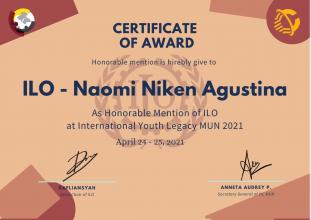 Mahasiswi HI UPNVJ Raih Penghargaan sebagai Honorable Mention pada IYLMUN 2021